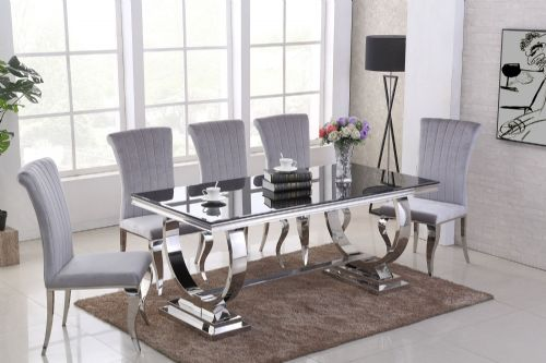 GA Romano Black Dining Table &  4,  6, 8 Grey  Chairs